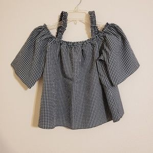 Pins & Needles Gingham Gathered Cold Shoulder Top